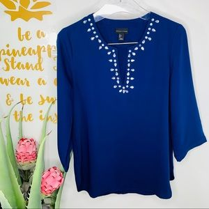 Adrienne Vittadini Royal Blue Jewel V-Neck Blouse